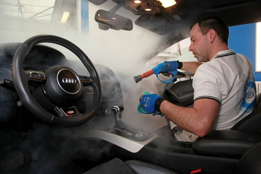 Steam cleaning of all plastic components in the car interior - Car Cleaning And Wash Using Steam